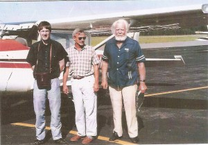 David Tombe on left, pilot, and Andrew Zapffe On Right August 1990 Brainard, MI