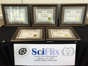 Five Awards in the 2015 edition of the SciFlix Film Festival.